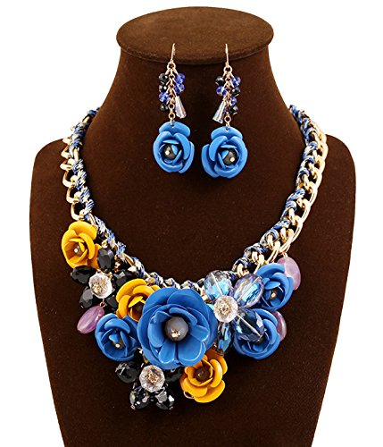 SEKAISORA Ms. Rose Necklace Pendant Transparent Large Resin Crystal Flower Necklace Earrings Set Statement Blue+Yellow