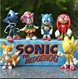 Sonic the Hedgehog 6 Piece 2.4' Tall Action Figure Set | Toy Kids Figurines Cake Topper +  Free Assorted Stickers | ToysOutletUSA