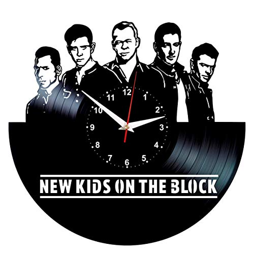 NKOTB Clock - Record Wall Art - Vinyl Room Decor - New Kids on The Block Gifts (Very Merry Christmas Party Button)