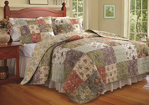 Quilt Garden Patch - Greenland Home Blooming Prairie 100% Cotton Authentic Patchwork Quilt Set, 3-Piece King/Cal King