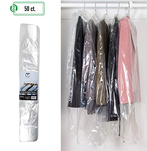 PARTY BARGAINS 40 Inch Garment Bags | 80 Gauge Dry Cleaning Laundrette Bag for Suits, Dresses, Gowns, Coats, Uniforms, More | Clear Polyethylene Clothes Cover Protector | 50 Count