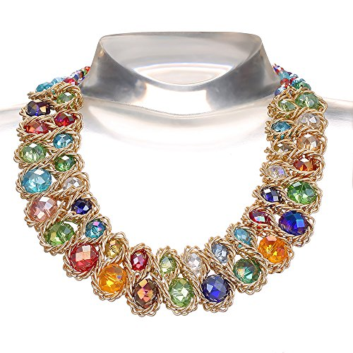 AWAYTR Ladies Choker Necklace Gold Tone Fashion Statement Big Multi Color Crystals Multi Color