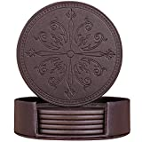 Leather Coasters, Set of 6 SanPlus Coasters for Drinks with Holder, Drink Coasters with Emboss Design, Protect Furniture from Water Marks Scratch and Damage (Flower and Sword, Brown)