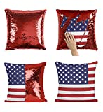 USA Flag P80 Sequin Pillow, Sequin Pillowcase, Funny Pillow, Two color pillow, Present Pillow, Gift for her, Gift for him, Magic Pillow, Mermaid Pillow [With Insert]