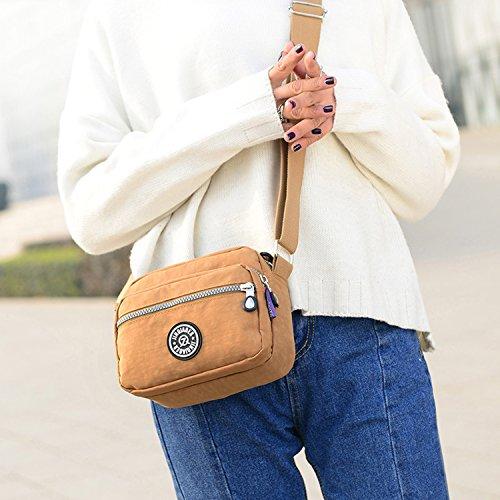 Deporte Outreo para Beige Bolsos Moda Viaje de Casual Mujer Escuela de Impermeable Bolso Bolsos Bolsas Bandolera Pequeña de Ligero Bolsas q8qr4wp
