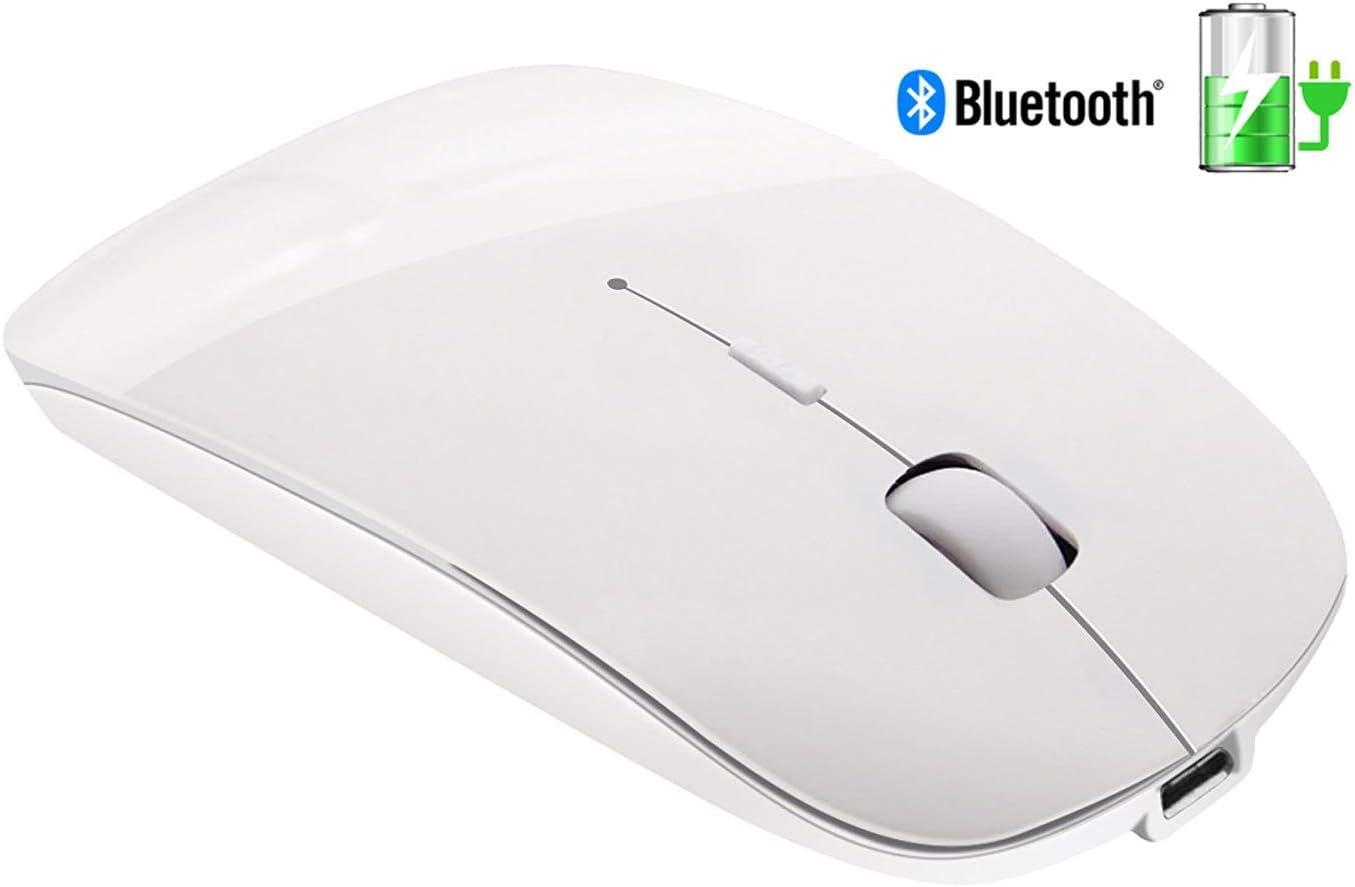 Ratón Bluetooth delgado recargable - Ratón óptico inalámbrico recargable inalámbrico Tsmine para computadora portátil, PC, portátil, Windows / Android (NO para iPhone o iPad) - Blanco