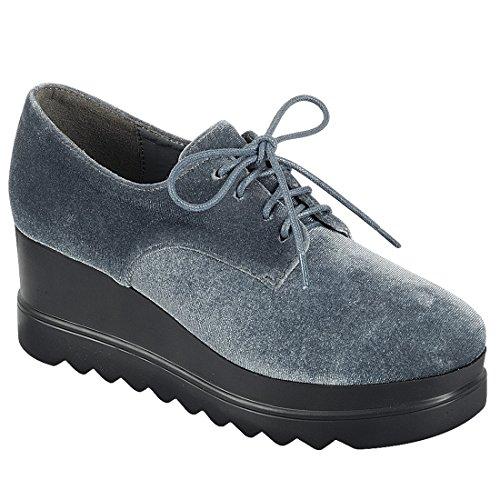 Pour Toujours Fl58 Womens Lace Up Sawtooth Semelle Plarform Wedge Chaussure Oxford Gris