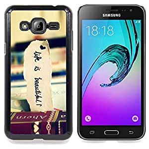 """Qstar Arte & diseño plástico duro Fundas Cover Cubre Hard Case Cover para Samsung Galaxy J3(2016) J320F J320P J320M J320Y (Libros de Viaje Hermosa Vignette Vida"""")"""