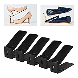 HARRA HOME Shoe Slots 3step Adjustable space saver organizer, Premium Shoes slotz holder, Double shoe rack storage, Set of 5 (Black)