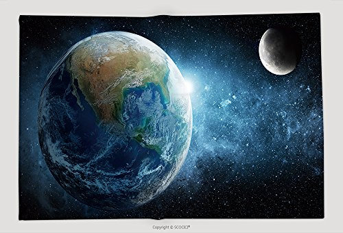 Supersoft Fleece Throw Blanket Earth Moon And Star Elements Of This Image Furnished By Nasa 425550385 by vanfan