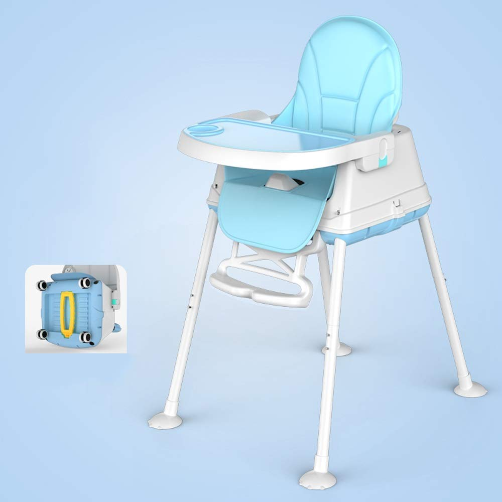Swttppy Kids Baby Chair Portable Folding Dining Seat Children's Dining Chair Feeding Chair Dining Chair High Chair Booster Seat Cartoon Small Chair Bench (Color : Blue) by Swttppy