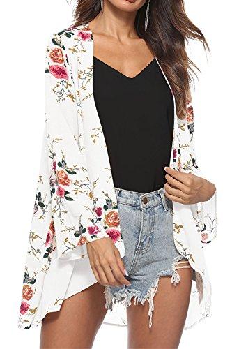 W-GRACE Womens Chiffon Bikini Swimsuit Cover up Cardigan Summer Beach Floral Loose Casual Kimono Cardigan Caps