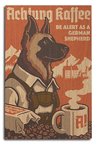 (Lantern Press German Shepherd - Retro Coffee Ad (10x15 Wood Wall Sign, Wall Decor Ready to Hang))