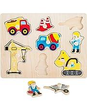 small foot 10445 houten houten houten puzzelstukjes met acht kleurrijke puzzelstukjes in de vorm van bouwplaatsen motieven