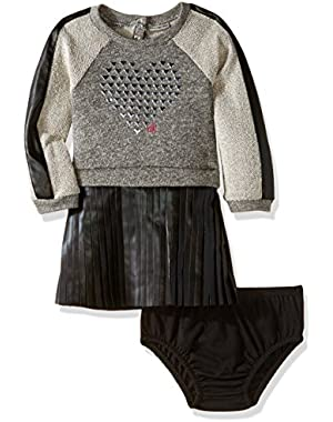 Baby Girls' French Terry Body with Pleather Skirt