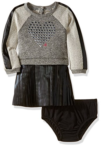 Calvin Klein Baby French Terry Body With Pleather Skirt, Gray, 12 Months