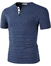 Mens Fashion Casual Front Placket Basic Henley T-shirts