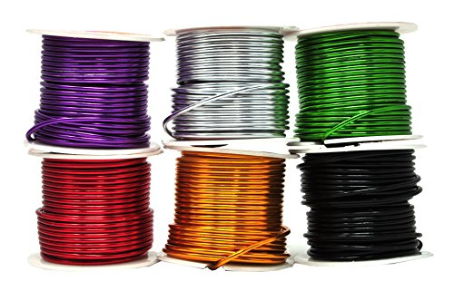 Mandala Crafts Anodized Aluminum Wire for Sculpting, Armature, Jewelry Making, Gem Metal Wrap, Garden, Colored and Soft, Assorted 6 Rolls (12 Gauge, Combo 3)