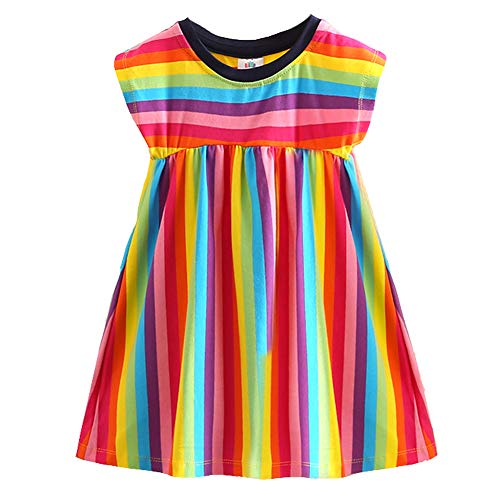 Frogwill Toddler Girls Summer Dress Striped Rainbow Casual Skirt 5T -
