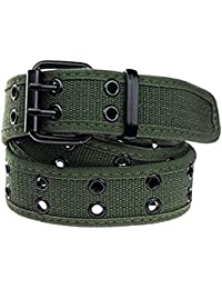 Canvas Web Belts for Men,Solid Color Casual Double Hole Grommet Belt