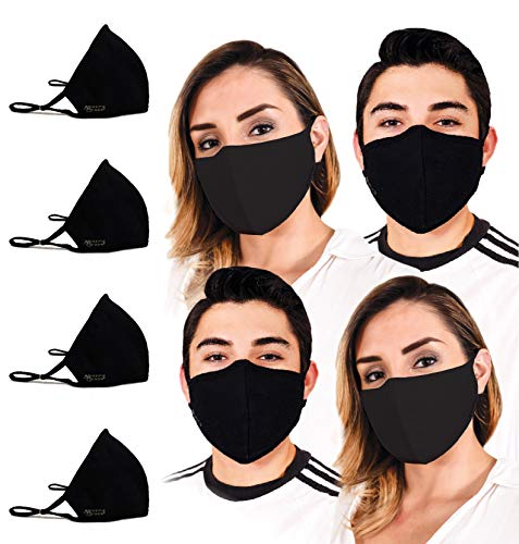Cloth Face Mask for Protection with BFE99 Built-In Filters; Washable, Reusable & Size-Adjustable for Men & Women