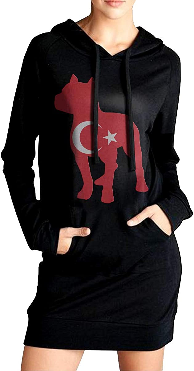 ADA/&KGH Womens Pullover Sweatshirt Long Hoodies Dress Patriotic Pitbull Turkey Flag Outer Jacket with Pockets