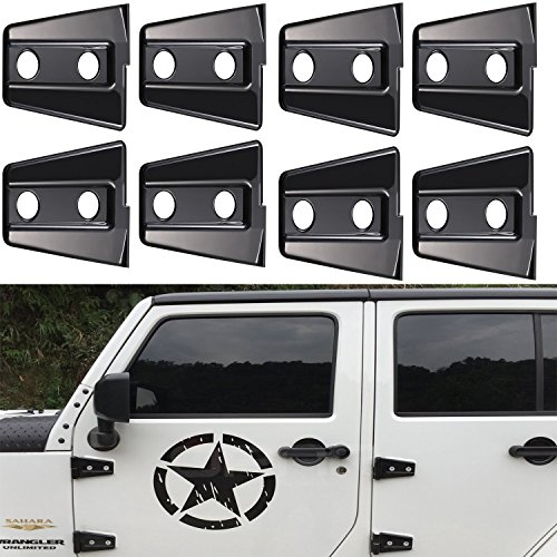 Opar 8PCS Black Door Hinge Cover for 2007 – 2017 Jeep Wrangler 4 Door