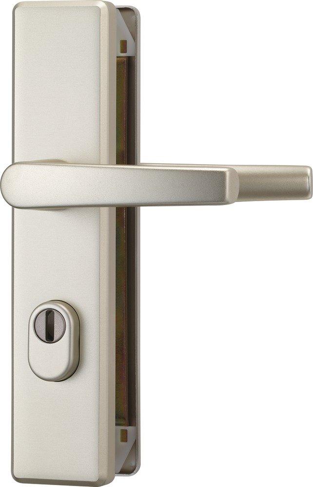 Abus 084225 KLZS714 F2 EK Ferrure de porte carré e avec protection de cylindre et poigné es des 2 cô té s Argenté