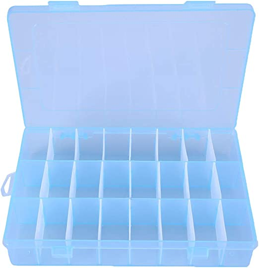 24 Grids Blue Jewelry Box Storage Boxes Plastic Earrings Rings Holder Organizer
