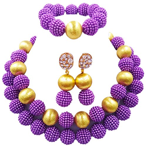 aczuv Nigerian Wedding African Beads Red Jewelry Sets for Women Simulated Pearl Necklace and Earrings (Purple)