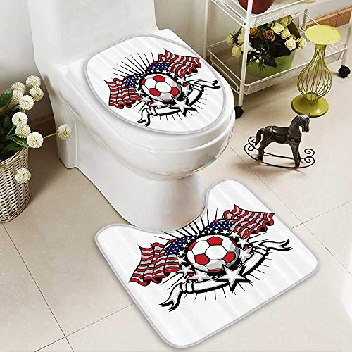 Muyindo Toilet carpet floor mat Stripes Patriotic American Soccer with American Flags 2 Piece Shower Mat set by Muyindo