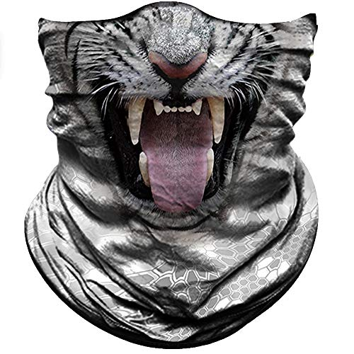 Obacle Animal Half Face Mask Sun Dust Wind Protection Durable Breathable Seamless Face Mask for Men Women, Lightweight Thin Neck Gaiter for Outdoor Sports Tiger White