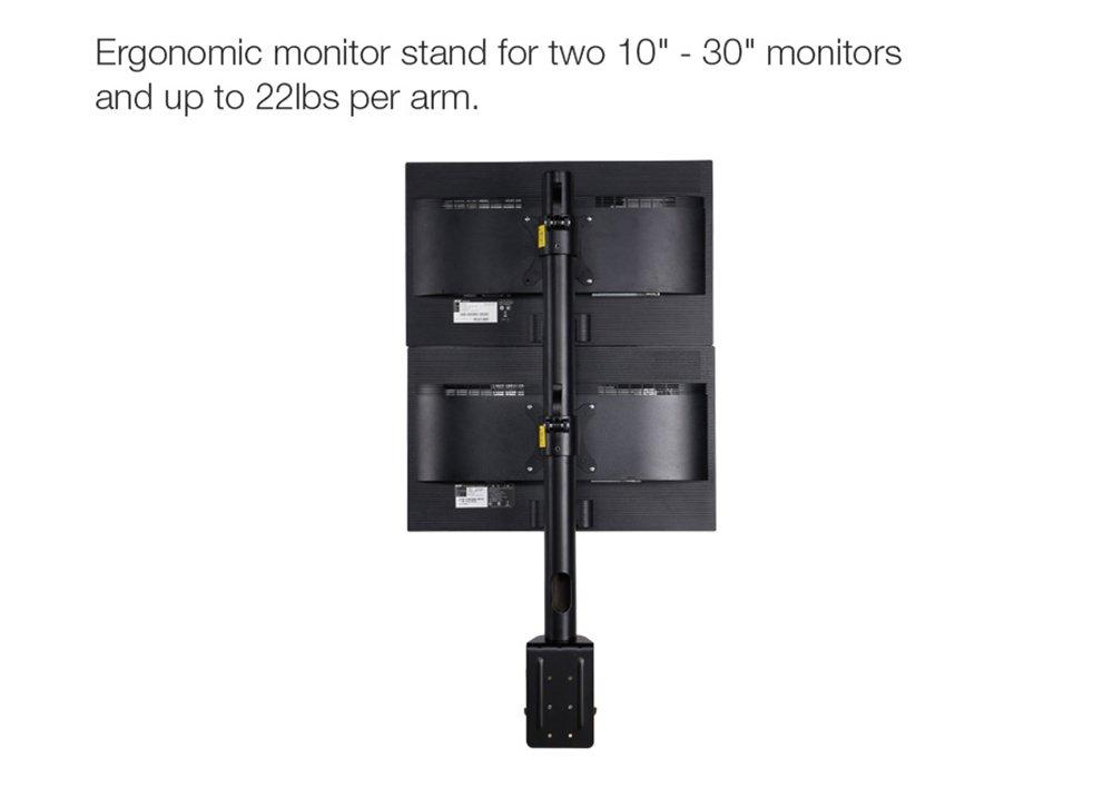 Max 22 libbre Capacit/à di carico Doppio Monitor Desk Mount Supporto array verticale per due schermi Misura per 10-30 staffa di fissaggio