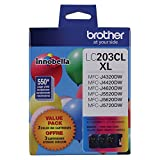 Brother LC-203CL Ink Cartridge (Cyan, Magenta, Yellow, 3-pack) in Retail Packaging