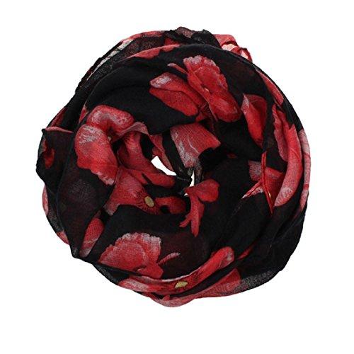 Noir 180cm Et Écharpe 100cm De Stole Rouge Amlaiworld Pavot Enveloppe Femmes Echarpes Plage Longue Impression Fleurs Mesdames Foulards Châle wTTUq