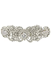 Ever Faith Silver-Tone Austrian Crystal CZ Art Deco Flower Tear Drop Hair Barrette Clip Clear N05547-1