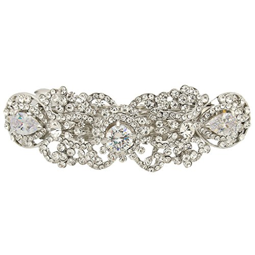 EVER FAITH Silver-Tone Austrian Crystal CZ Art Deco Flower Tear Drop Hair Barrette Clip Clear