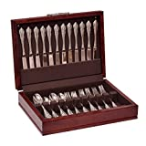 Traditions Flatware Chest, Solid American Cherry Hardwood with Rich Mahogany Finish and Anti-Tarnish Lining