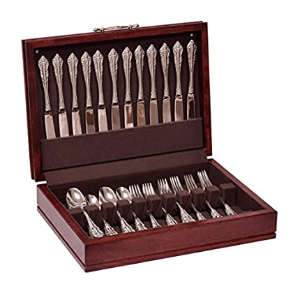 Image of Flatware Organizers American Chest F00M Traditions Flatware Chest, Solid American Cherry Hardwood with Rich Mahogany Finish & Anti-Tarnish Lining, Multicolor