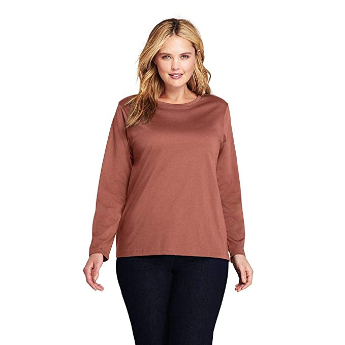 71c7c9db5f4 Lands  End Women s Plus Size Petite Supima Cotton Long Sleeve T-Shirt -  Relaxed