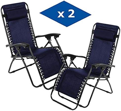 VIP HOGAR Pack 2 Tumbonas Plegables Multiposiciones, Sillas Relax Jardín o Exterior Gravedad Cero (Azul): Amazon.es: Jardín