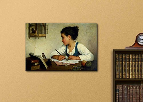 A Girl Writing; The Pet Goldfinch by Browne Henriette Print Famous Painting Reproduction