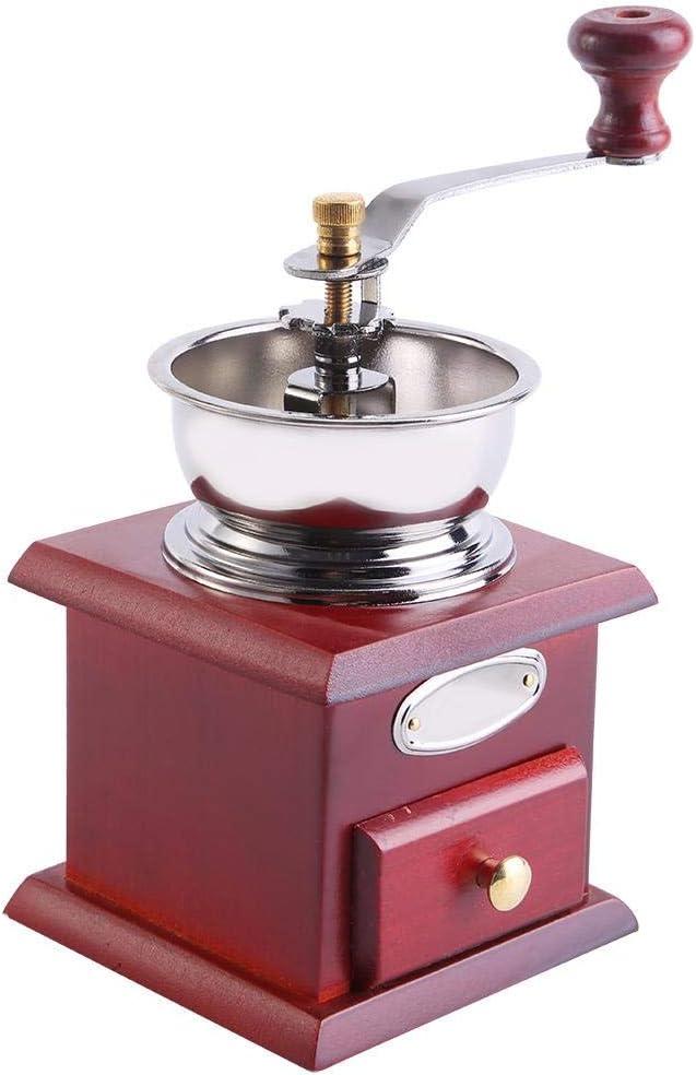 Red Wooden 1Pcs Design r/étro grain de caf/é moulin /à main Moulin manuel Accueil cuisine outil de meulage Moulin /à caf/é r/étro
