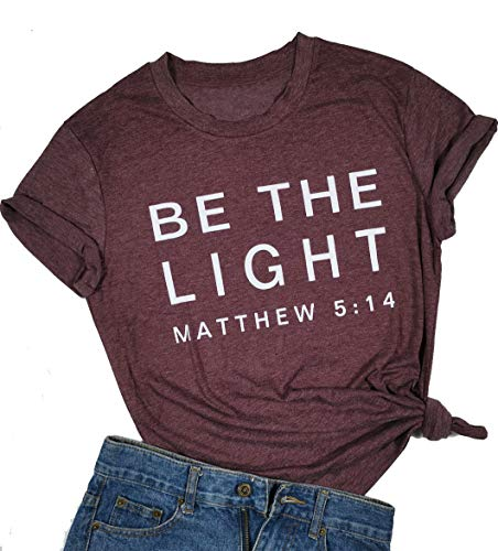 Be The Light Faith Shirts Women Jesus Christian T-Shirt Summer Letter Printed Short Sleeve Loose Tee Tops (XX-Large, Red)