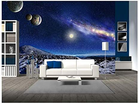 Night Space Landscape Milky Way Galaxy and Planets Over Mountains
