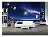 wall26 - Night Space Landscape. Milky Way Galaxy and Planets Over Mountains - Removable Wall Mural | Self-Adhesive Large Wallpaper - 100x144 inches