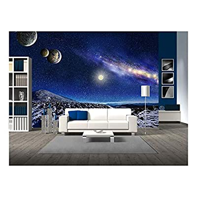 Unbelievable Creative Design, Night Space Landscape Milky Way Galaxy and Planets Over Mountains, Quality Artwork
