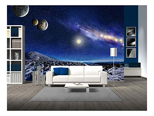 wall26 - Night Space Landscape. Milky Way Galaxy and Planets Over Mountains - Removable Wall Mural | Self-Adhesive Large Wallpaper - 100x144 inches (Flat Milky Way)