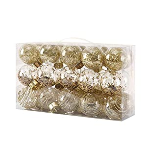 "Best Epic Trends 51UQQn1fRTL._SS300_ 60mm/2.36"" Christmas Ball Ornaments,Shatterproof Clear Plastic Decorative Xmas Balls Baubles Set with Exquisite Decorations(Golden,30 Counts)"