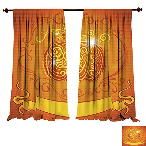 Panels Sun Blocking Curtains Greeting Card with Pumpkin and Ribbon for Invitations Halloween Party Light & Noise Insulated Window Draperies -
